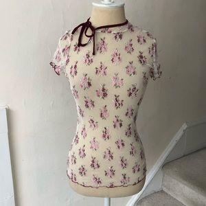 Free People Sheer Floral Tie Neck Top NWOT